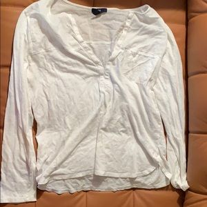 White gap long sleeve v neck shirt